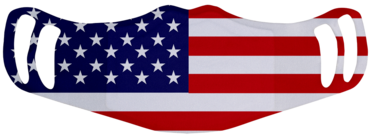 A washable and reusable polyester American Flag printed cloth face mask with two ear holes by each side